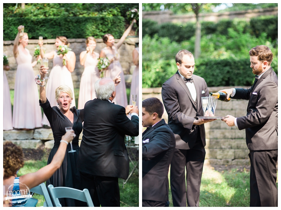 champagne pop and pass ceremony at a private estate wedding