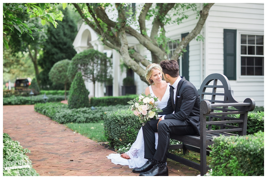 bride and groom enjoying a quiet moment on the grounds of their private estate Milwaukee wedding