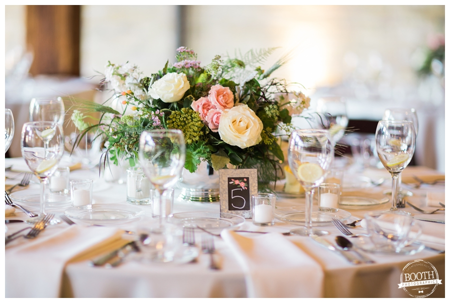 Pritzlaff reception table florals by Belle Fiori florist