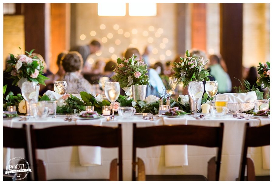 head table at a wedding reception at the Pritzlaff in Milwaukee