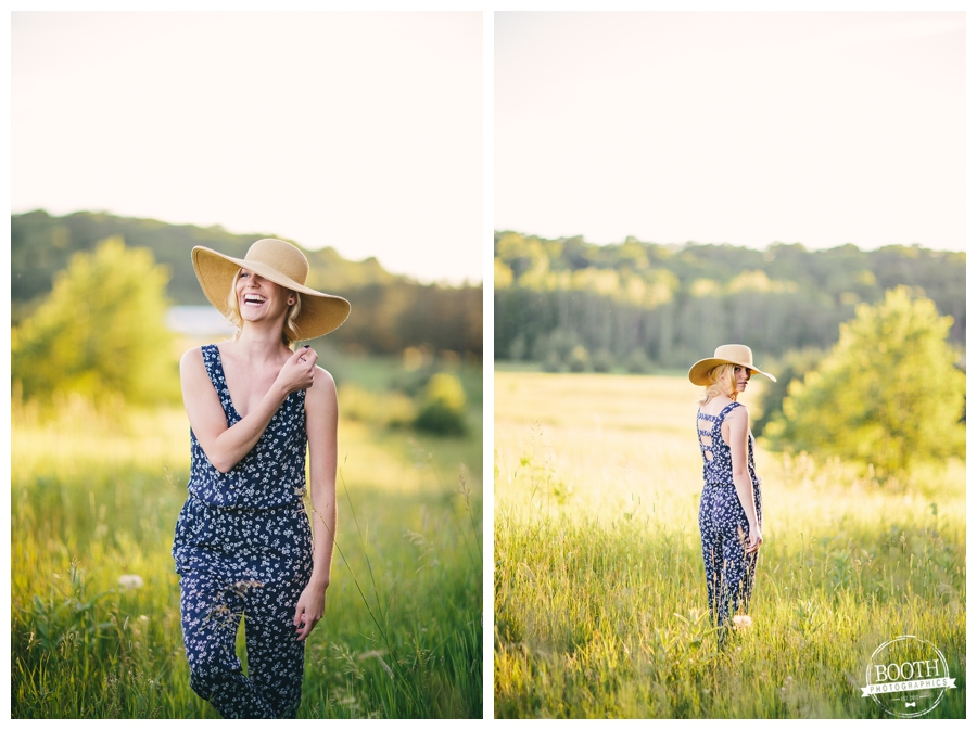 model Jenna Dickson posing in a field wearing a blue romper