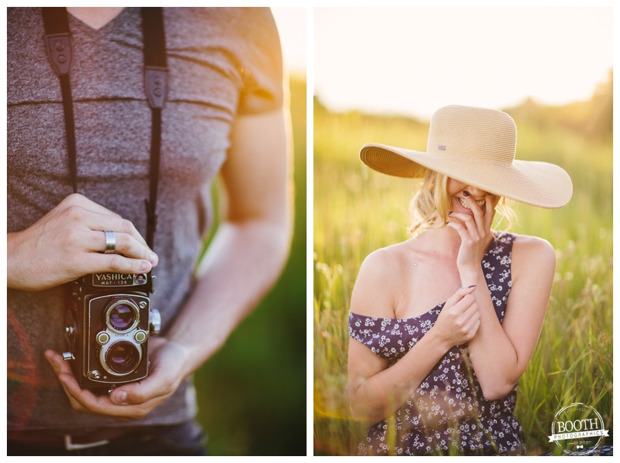 model Jenna Dickson posing in the sunset in a field in Wausau, Wisconsin and a rolliflex medium format film camera