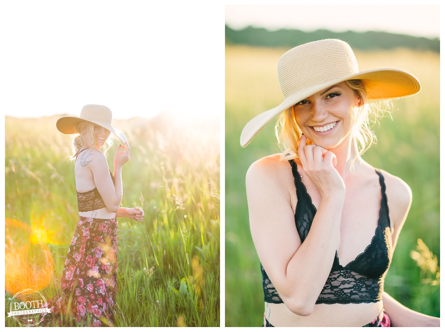 model Jenna Dickson posing in the sunset in a field in Wausau, Wisconsin