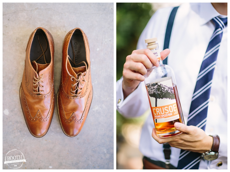 groom's shoes and organic spiced rum at a Walnut Grove wedding in Moorpark, CA