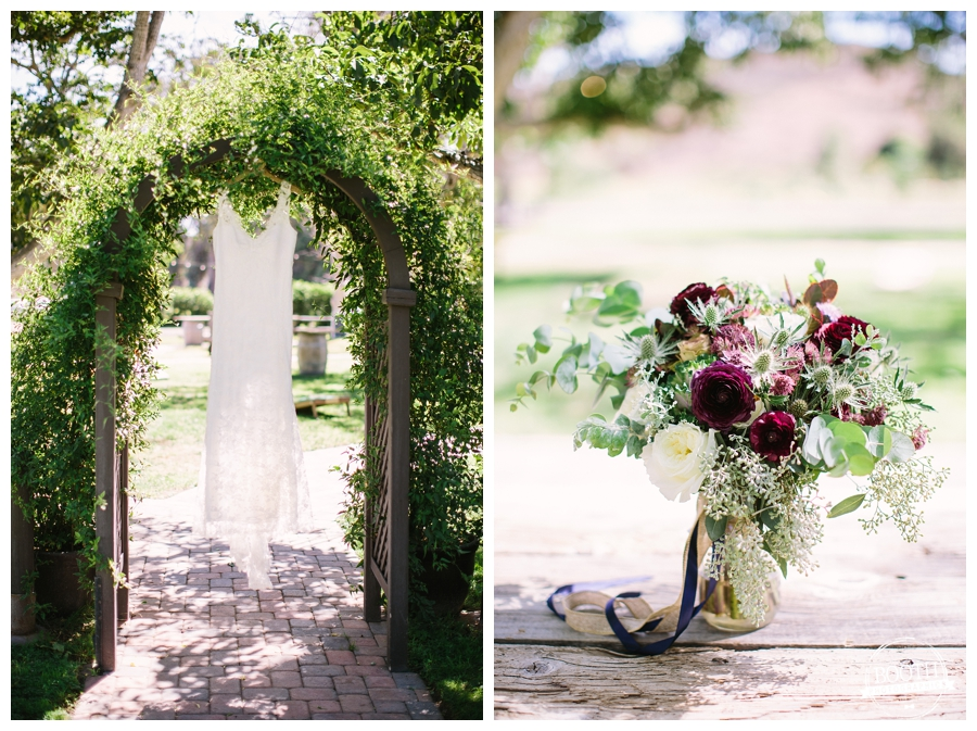 wedding dress at the Walnut Grove in Moorpark, CA and bridal bouquet by little branch florist