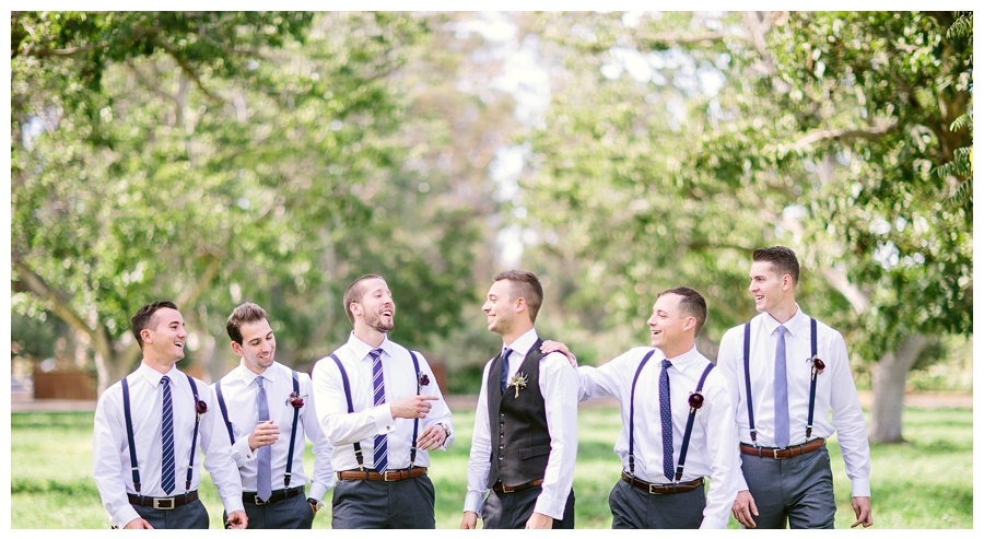 Groomsmen at a beautiful boho wedding at the Walnut Grove in Moorpark, CA