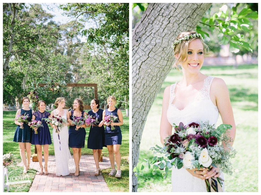 bridesmaids at a boho inspired wedding at the Walnut Grove in Moorpark, CA