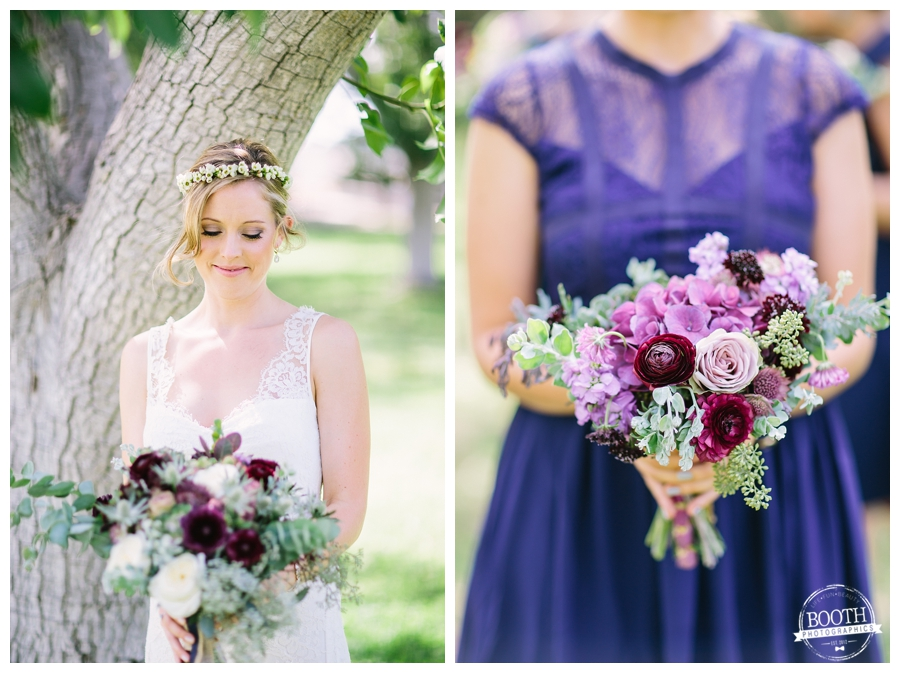 Bride at her boho binspired wedding at the Walnut Grove in Moorpark, CA