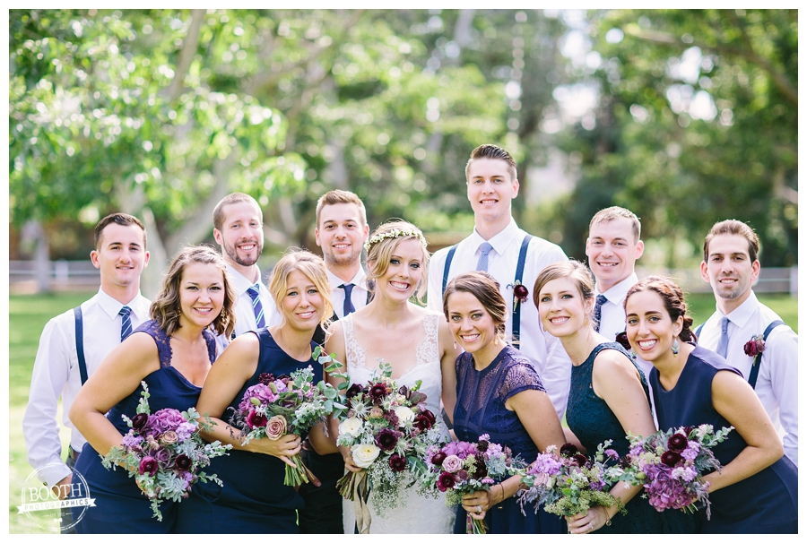 Bridal Party at a boho binspired wedding at the Walnut Grove in Moorpark, CA