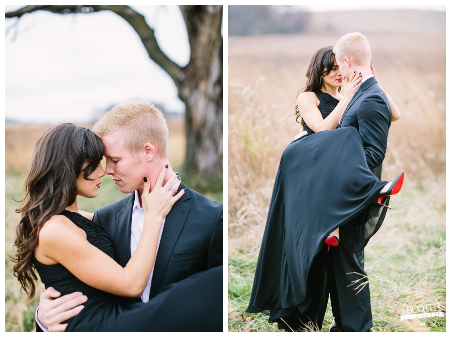 editorial photo of a classy couple embracing each other under a dramatic dead tree in Governor Nelson State Park in Madison, WI