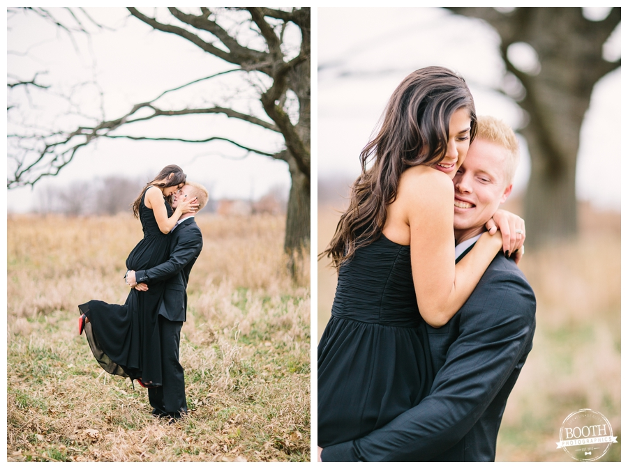 classy couple hugging in a field in Governor Nelson State Park near Madison, WI