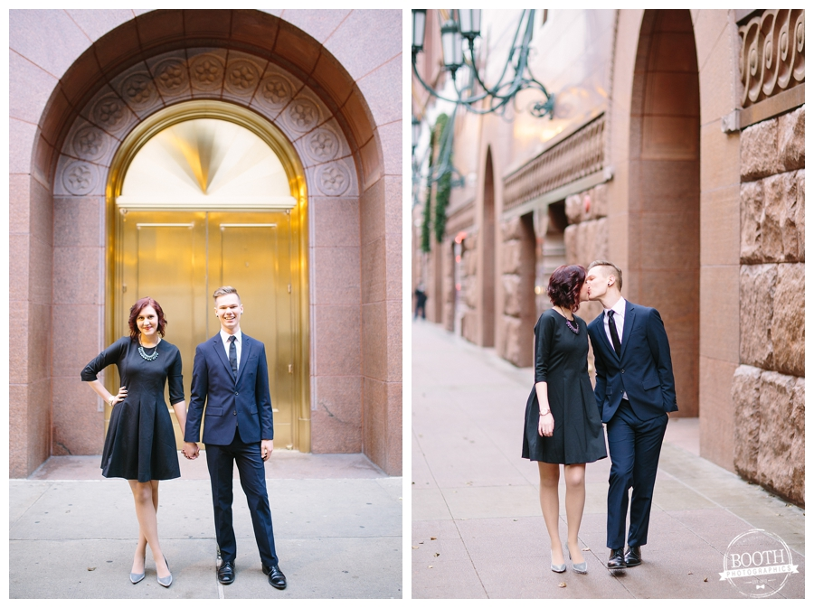 Engaged couple kissing and walking at the Harold Washington Library in downtown Chicago, IL