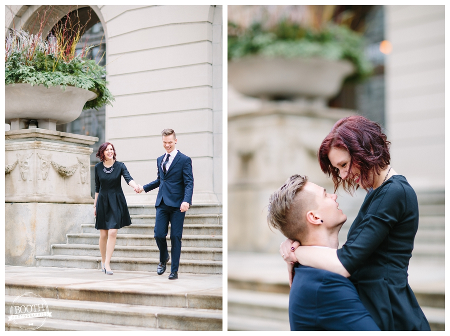 Fine Art Wedding Photography of a couple walking down the stairs at Chicago Art Institute