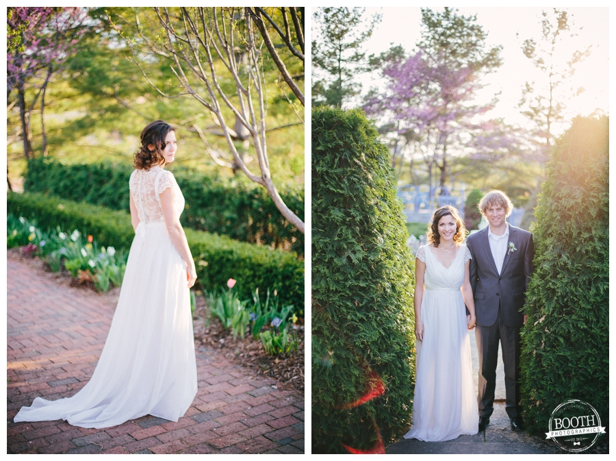 couple at their english garden wedding