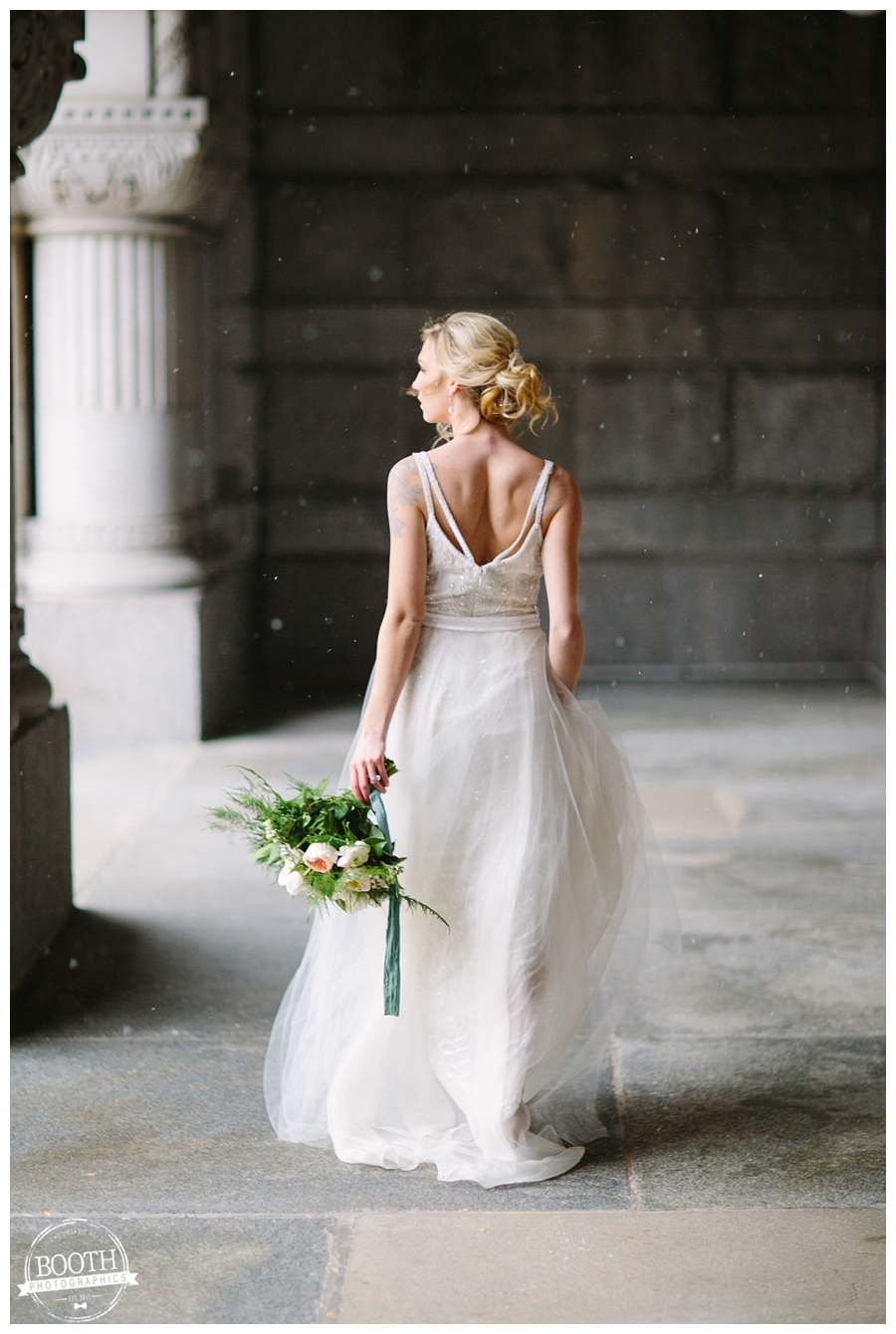 bride in BHLDN dress at her classy Milwaukee wedding