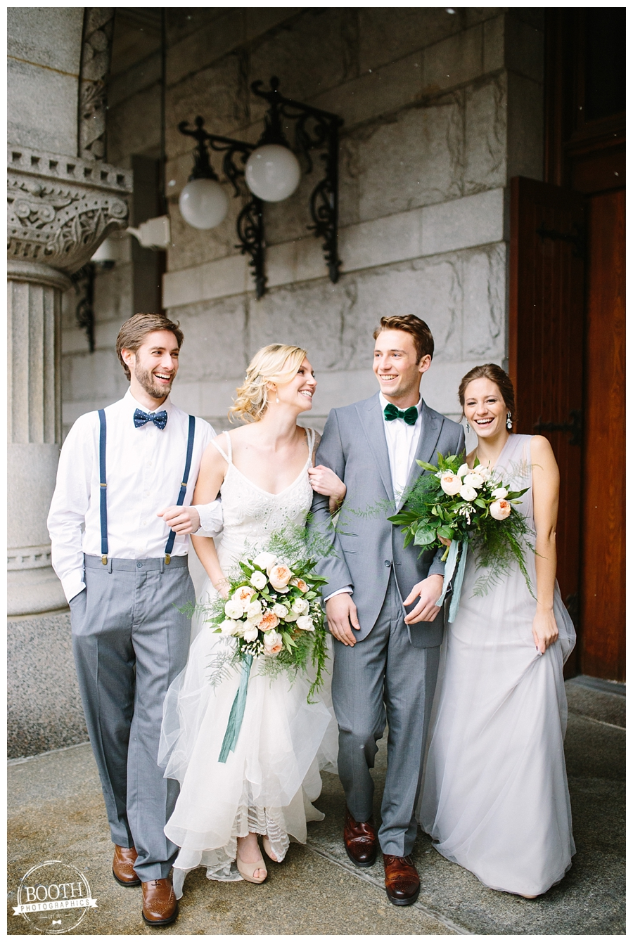 classy bridal party in BHLDN dresses and bow ties at a Milwaukee wedding