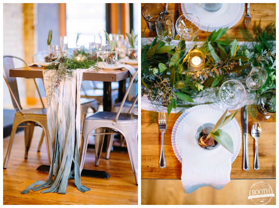 wedding reception table with metal tub chairs and DIY dip dyed muslin table runner