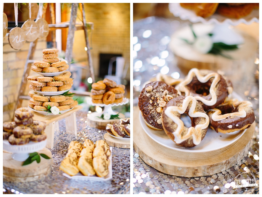 Donut table at a Milwaukee third Ward loft wedding