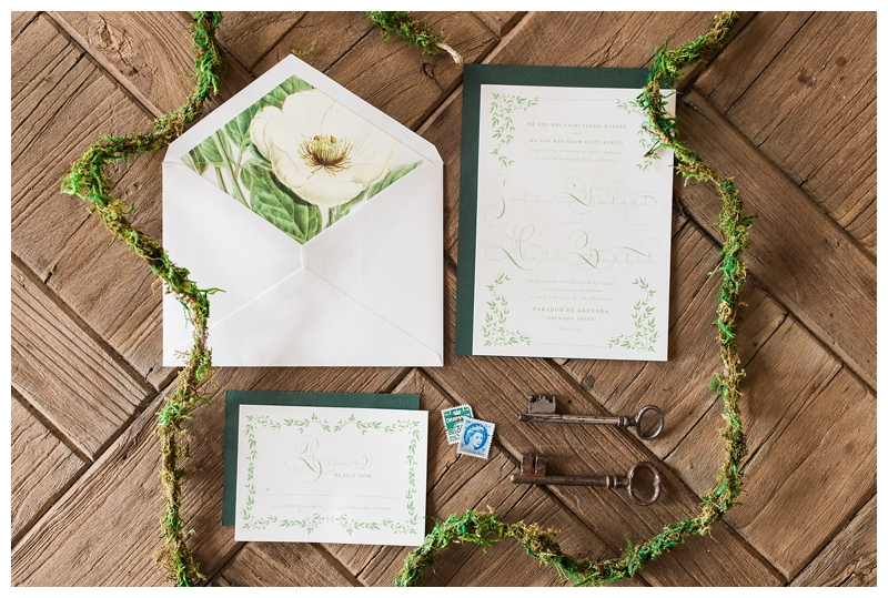 green and white floral wedding invitation suite photographed by Booth Photographics, destination fine art wedding photographersat the Farm at Dover, Burlington, WI