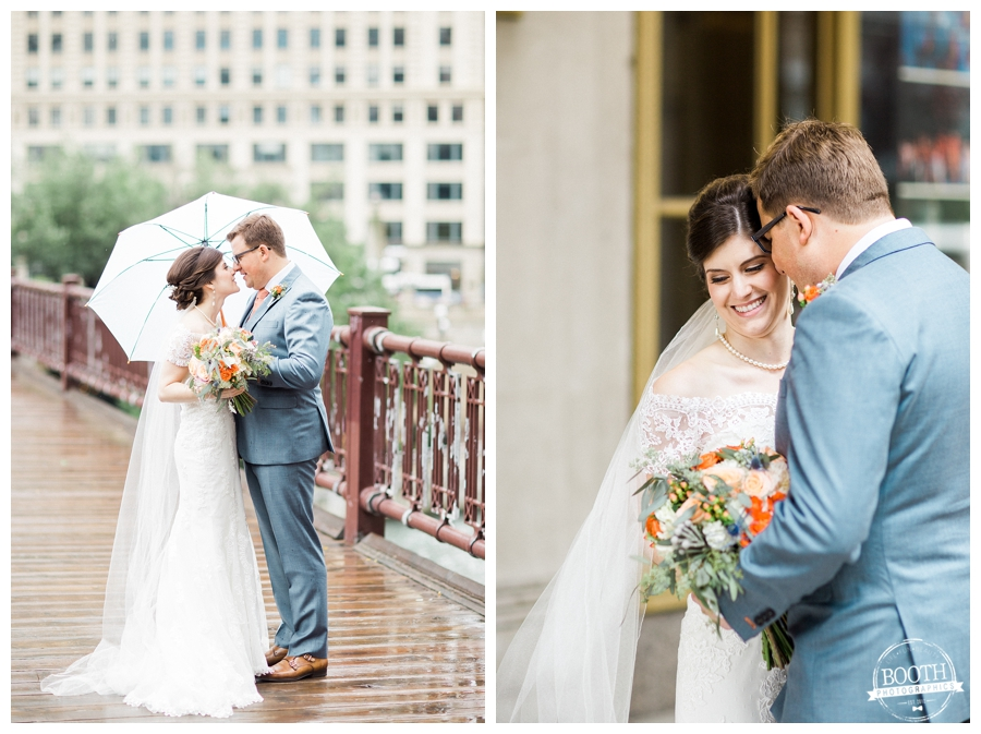 bride and groom smiling and kissing at Lurie Bridge and the Lyric Opera in Chicago, IL