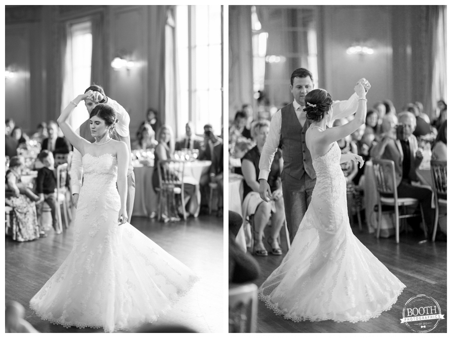 bride and groom's first dance at their classic and elegant wedding reception at Grainger Ballroom, Chicago Symphony Orchestra Center