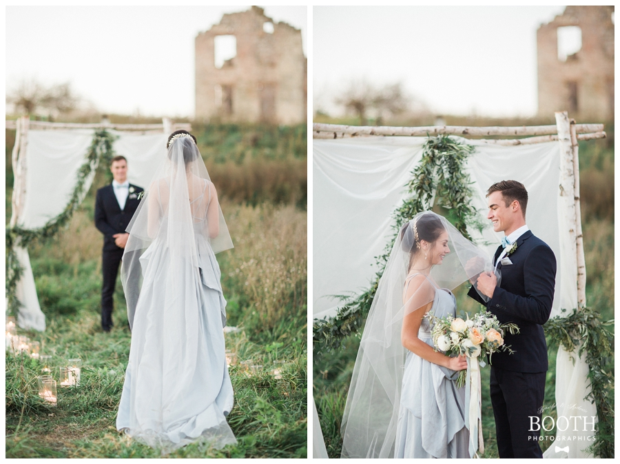 outdoor Wisconsin wedding ceremony photography