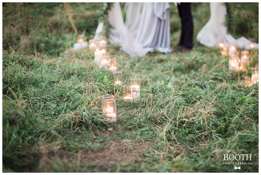 candle lined wedding ceremony aisle