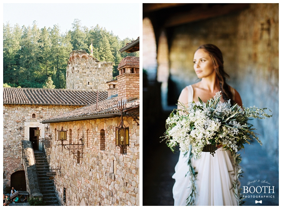 bride walking with lilac floral compote at Castelli Di Amorosa, Napa Valley, California