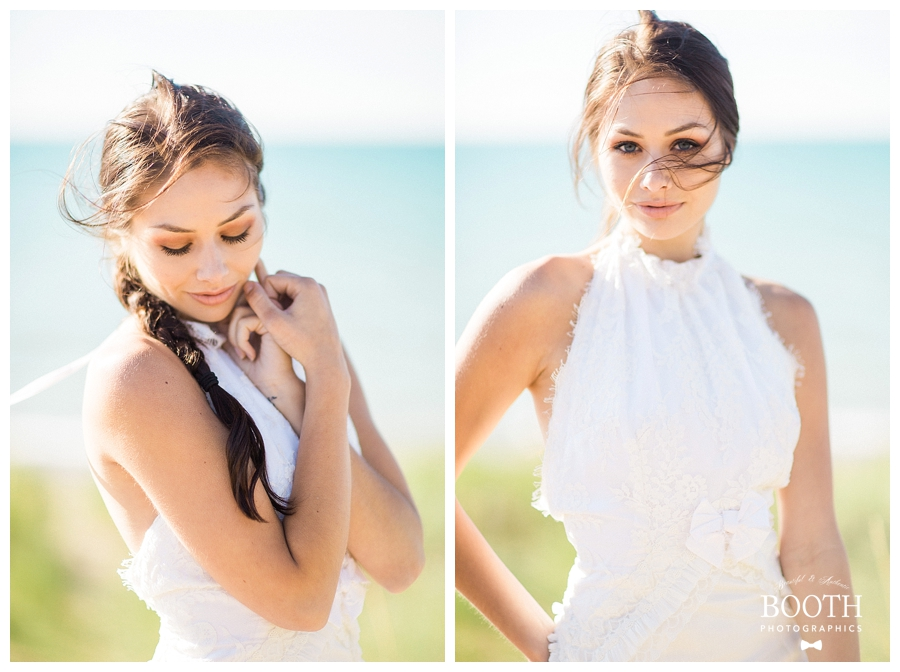 bohemian bridal portraits at Warren Dunes State Park, MI