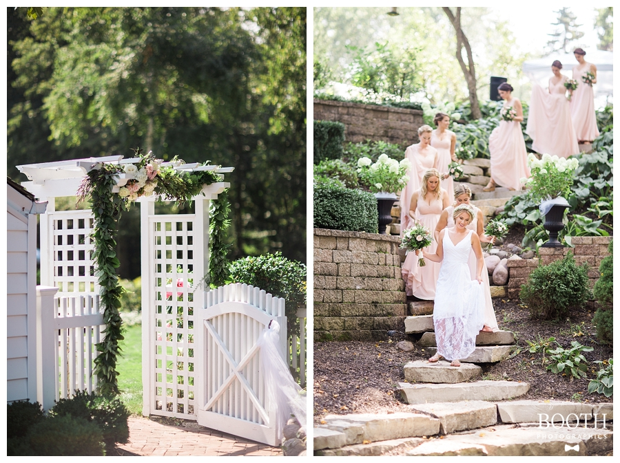 bridal party at a bohemian romantic outdoor private estate wedding