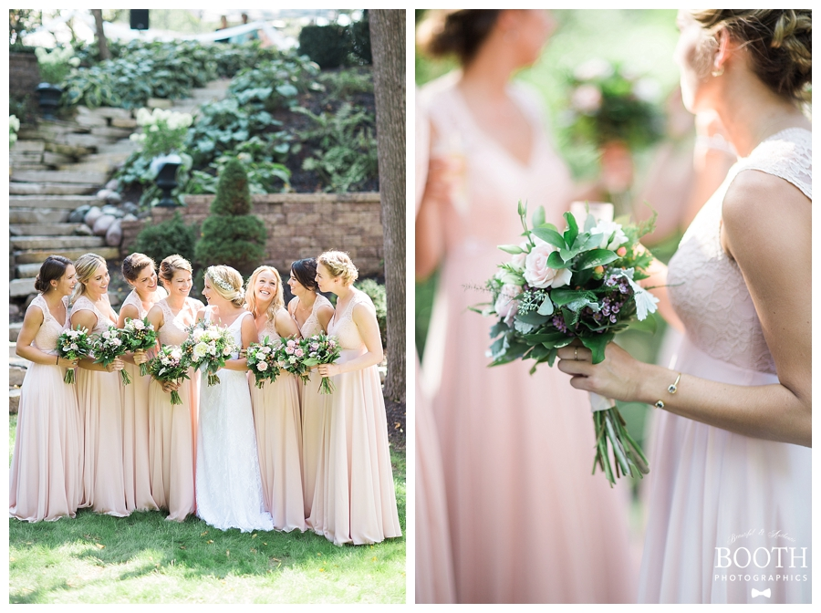 bridal party talking at their bohemian romantic outdoor private estate wedding