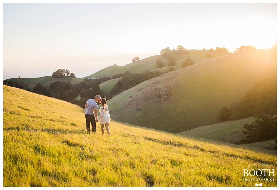 couple holding hands at Mt. Tamalpais, Marin County, California