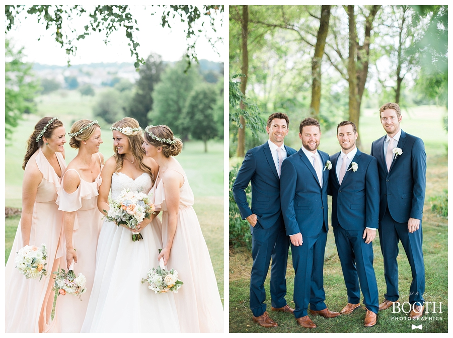 pink and navy bridal party walking and laughing at a rustic outdoor wedding