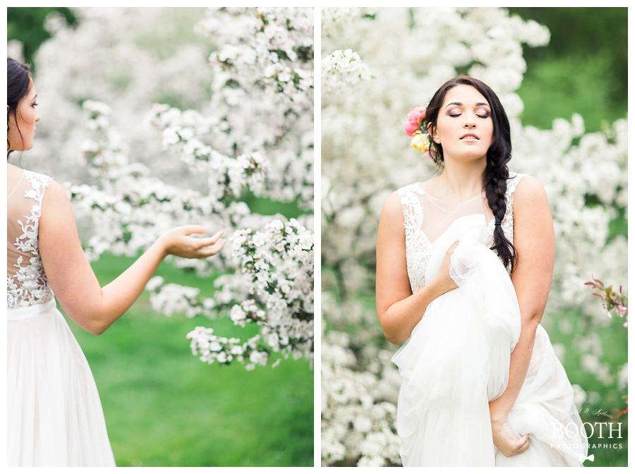 bride wearing BHLDN gown among the apple blossoms