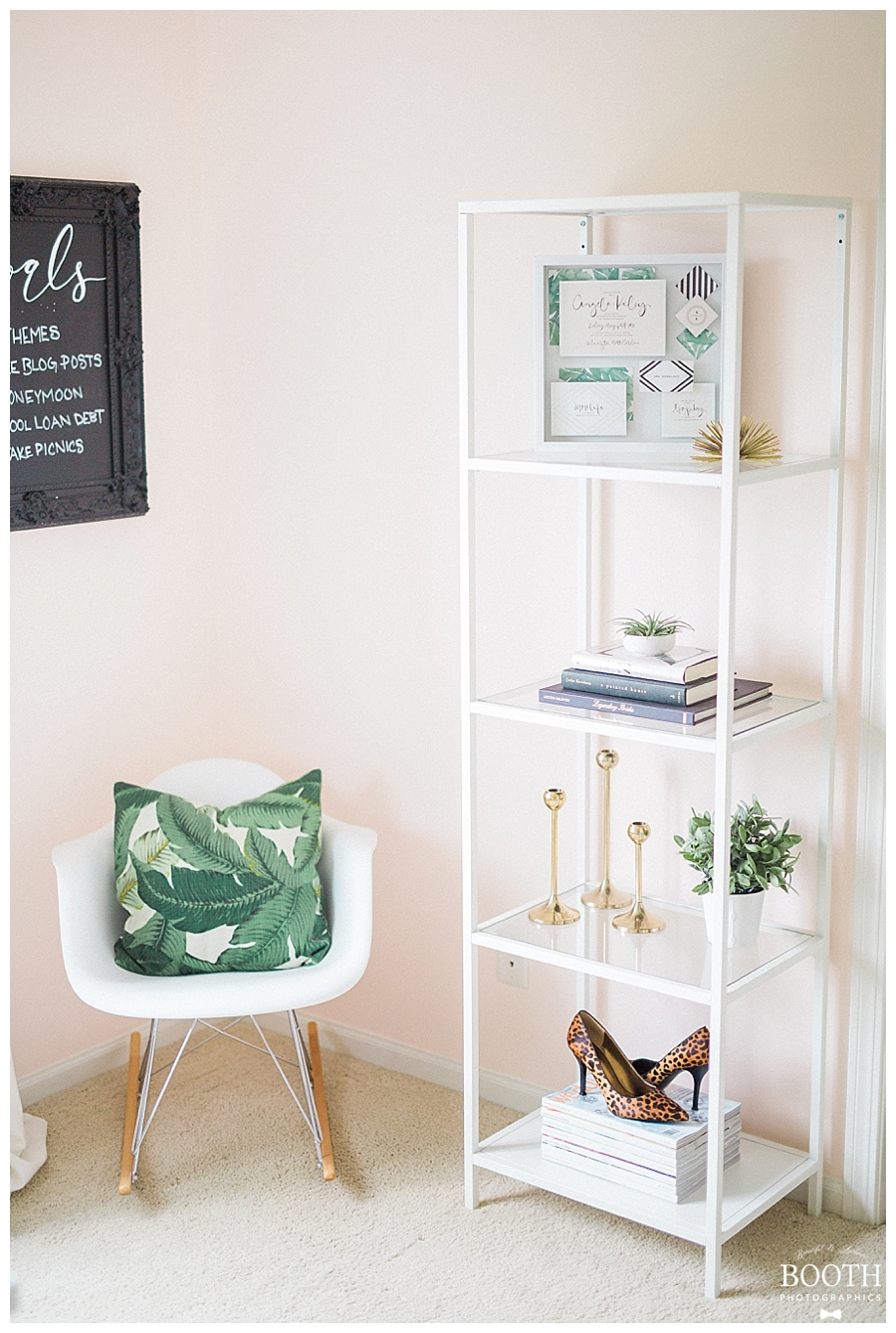 feminine pink, white, and green mid-century modern inspired home office for Saffron Avenue