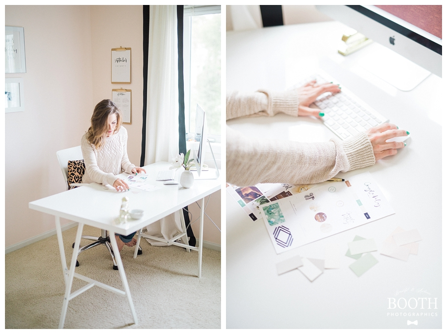 Blogger working in her feminine pink, white, and green mid-century modern inspired home office
