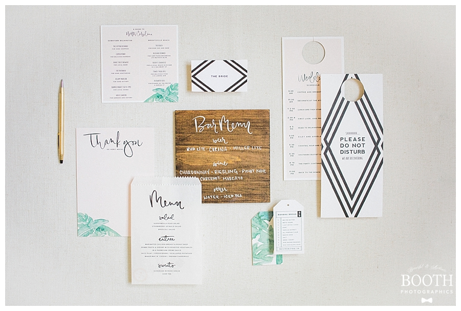 blush, green, and white mid-century modern inspired invitation suite designed by Saffron Avenue