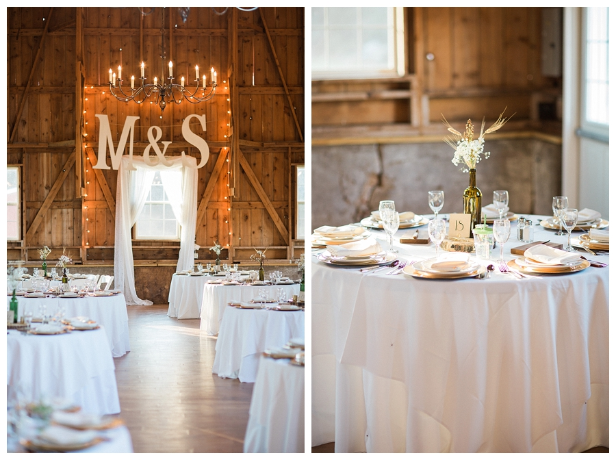 elegant and rustic ivory wedding reception inspiration at Sugarland Barn