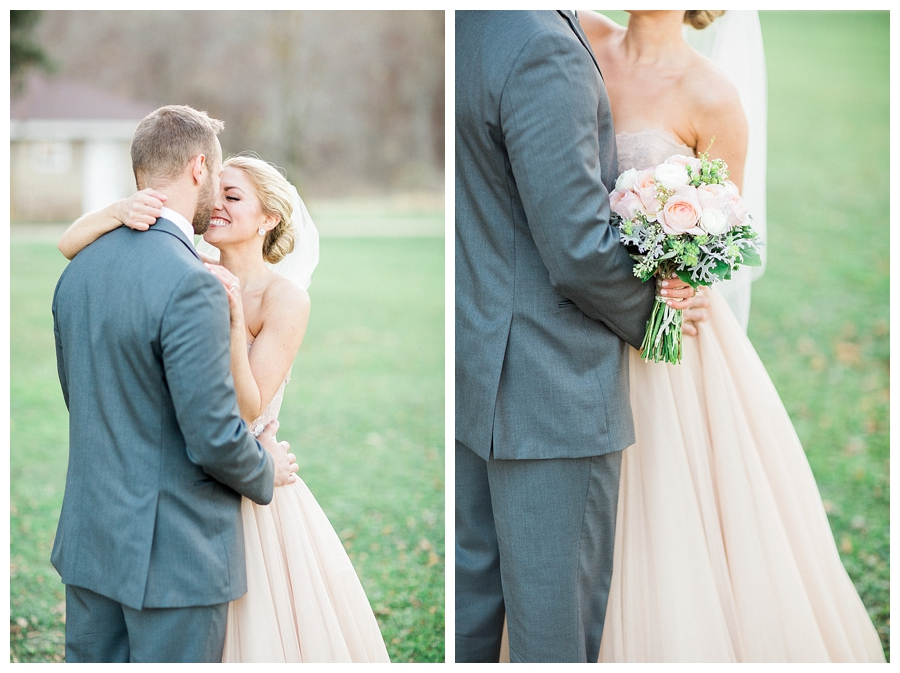 couple grinning and kissing at their rustic outdoor wedding at Sugarland Barn