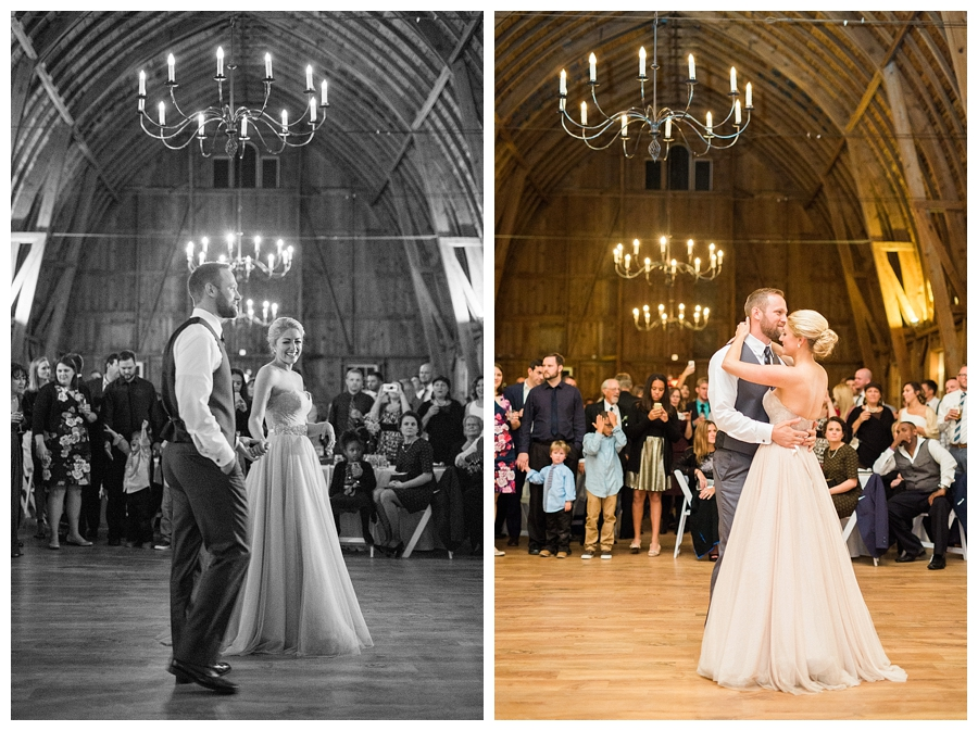 couple's first dance at their rustic fall wedding reception at Sugarland Barn