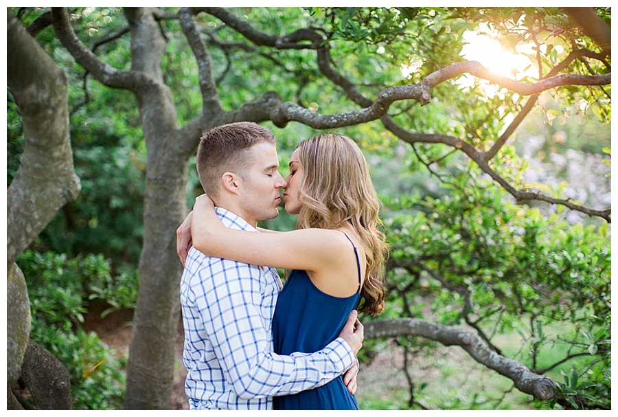 fine art photography of an outdoor garden engagement session