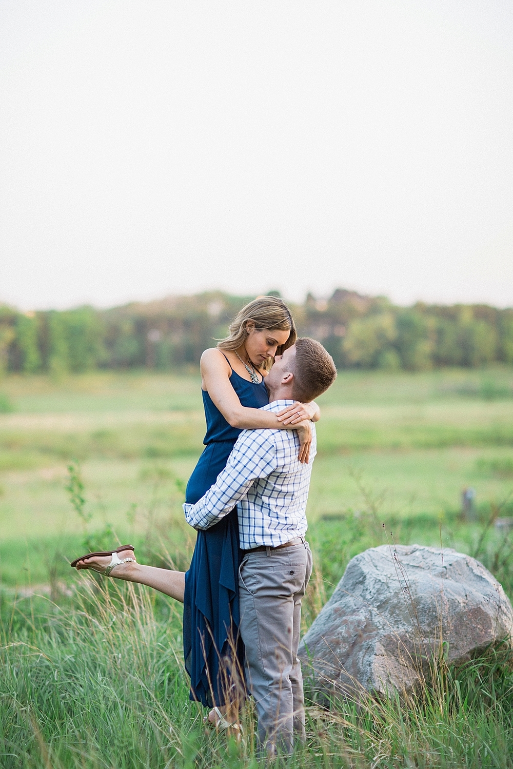 organic fine art engagement session in a field