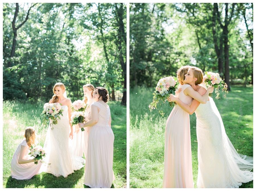 bridesmaids hugging