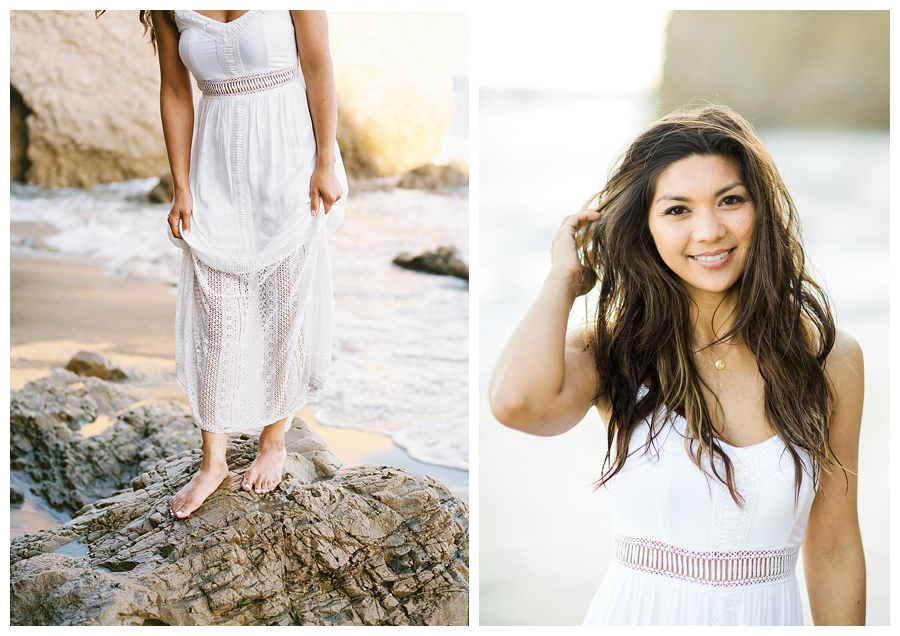 fine art engagement session at El Matador Beach, Malibu, CA