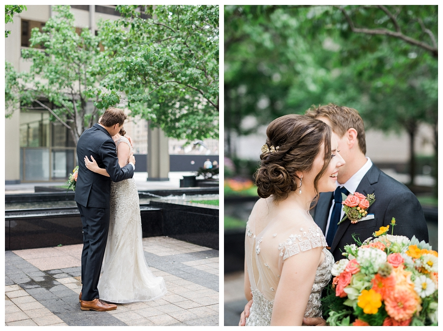 fine art wedding photography of downtown Chicago first look