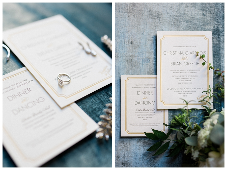 fine art styling of letterpress invitation suite at Palmer House, downtown Chicago