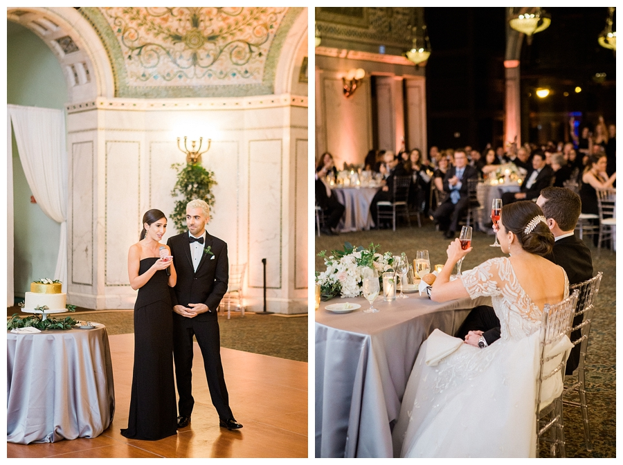 fine art wedding photography of wedding toasts at the Chicago Cultural Center, Chicago