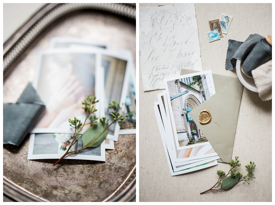 fine art styling of wedding prints