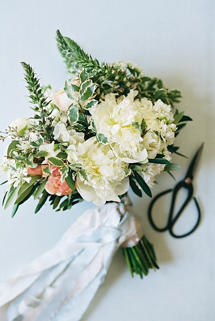 fine art styling of garden style bridal bouquet