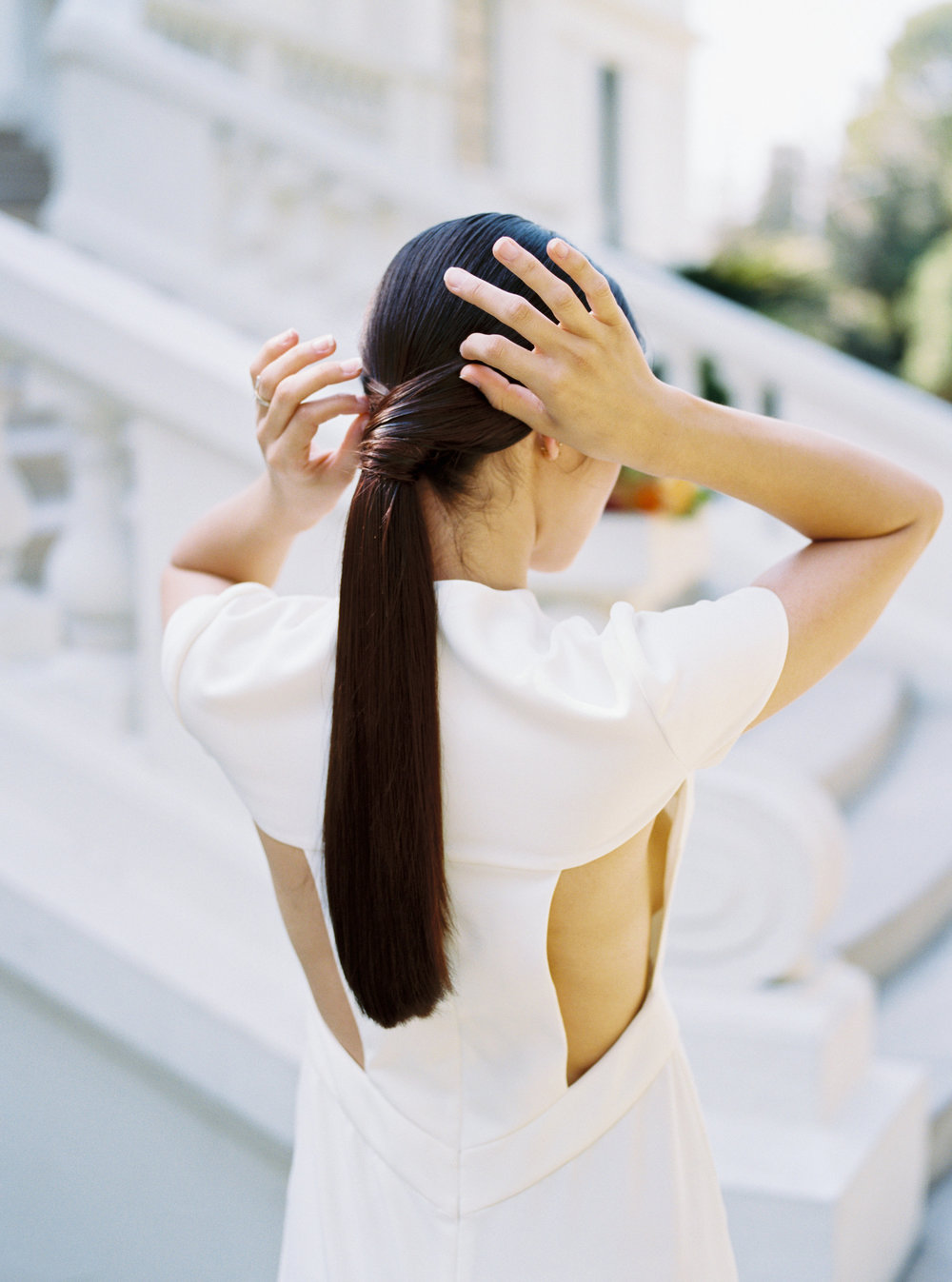 minimal wrapped ponytail by Studio MM&B for an estate wedding in Pasadena, California